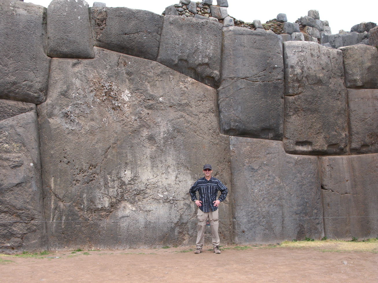 Chuck in front of gigantic stone