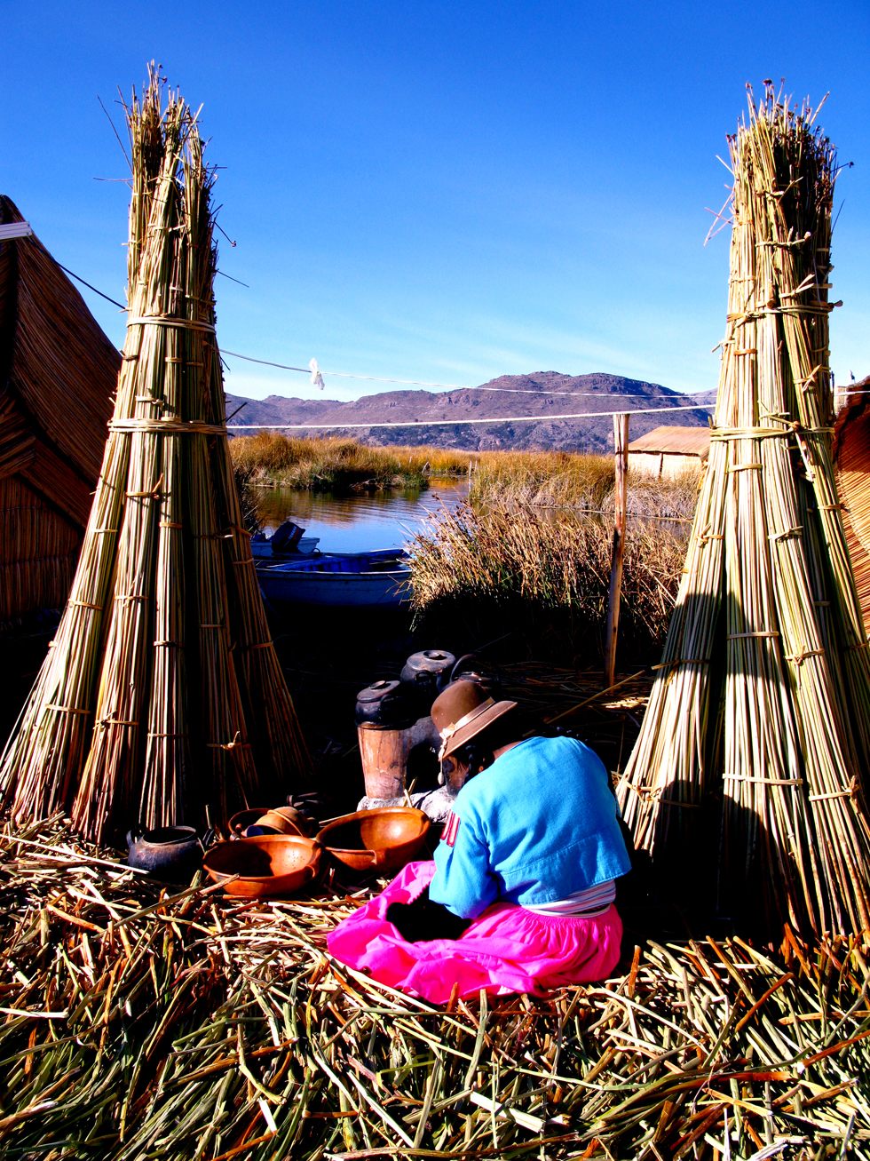 Woman on Los Uros Island