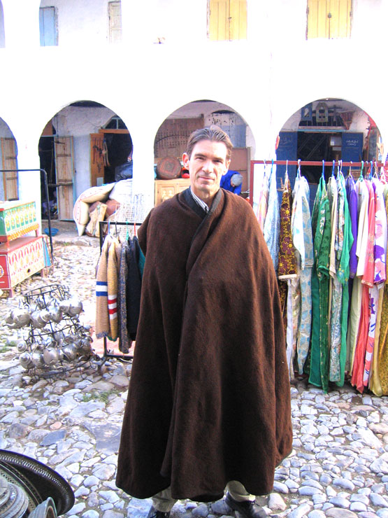 Chuck trying out Moroccan cape