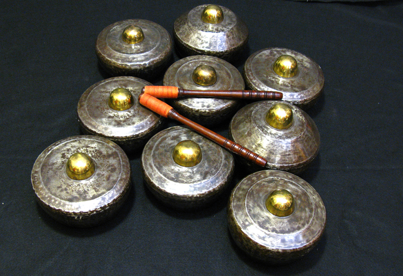 Some bonangs - horizontal tuned metal pots